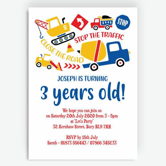 Diggers, Trucks & Construction Birthday Party Invitation
