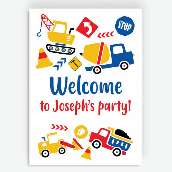 Diggers, Trucks & Construction Party Sign
