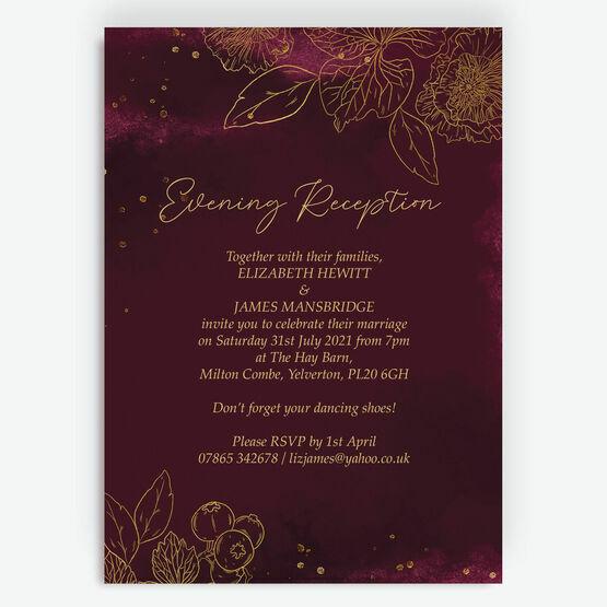 Burgundy & Gold Floral Outline Evening Reception Invitation