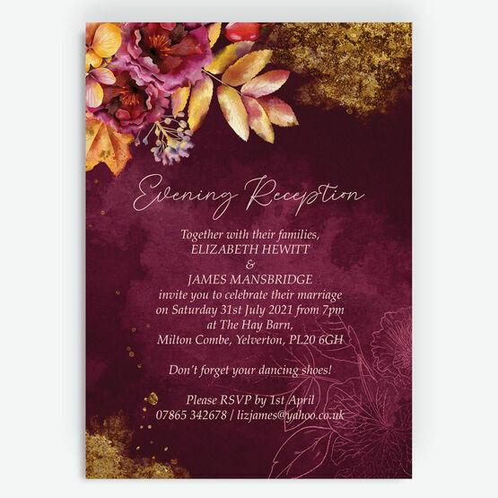 Autumn Burgundy Floral Evening Reception Invitation
