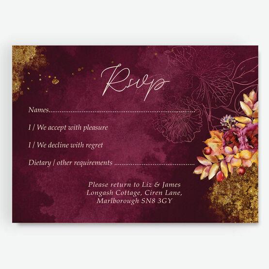 Autumn Burgundy Floral RSVP