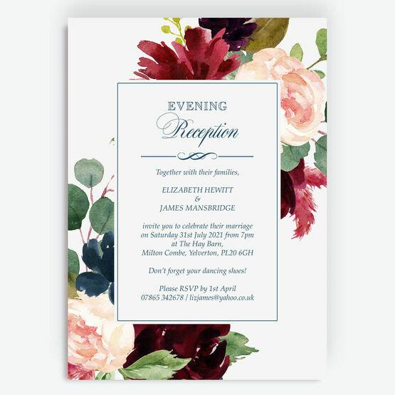 Navy, Burgundy, Blush & White Floral Evening Reception Invitation