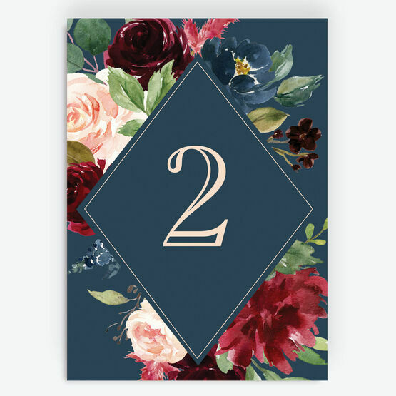 Navy, Burgundy & Blush Floral Table Number