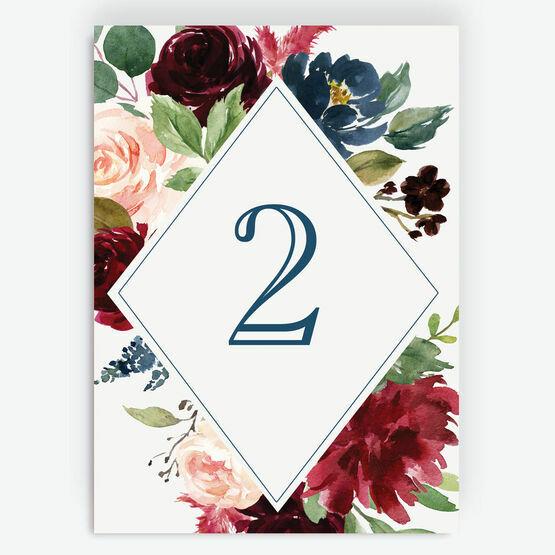 Navy, Burgundy, Blush & White Floral Table Number