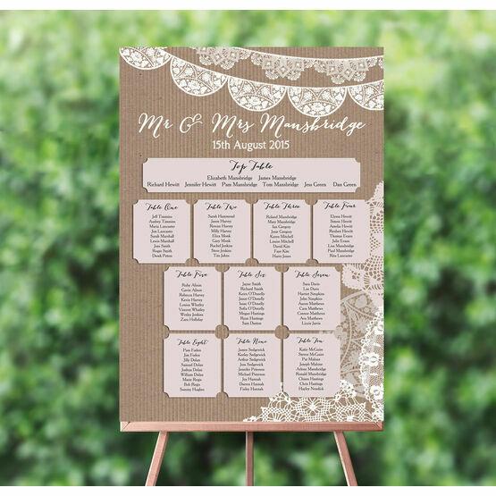Rustic Lace Bunting Wedding Seating Plan