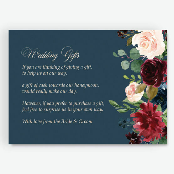 Navy, Burgundy & Blush Floral Gift Wish Card