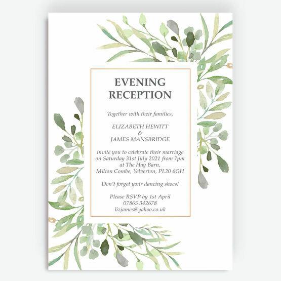 Greenery Frame Evening Reception Invitation