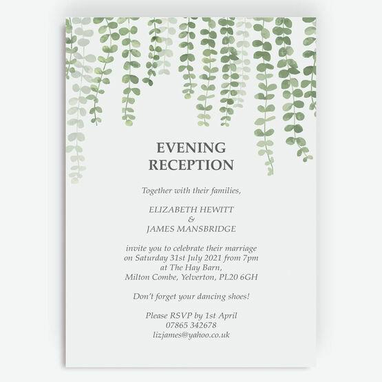 Eucalyptus Evening Reception Invitation