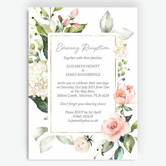 White, Blush & Gold Geometric Floral Evening Reception Invitation
