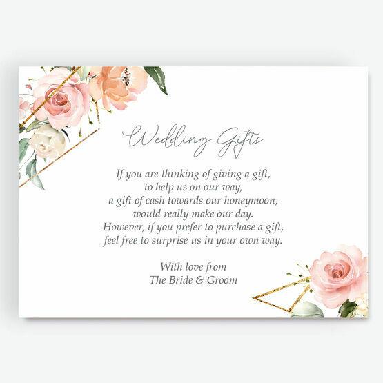 White, Blush & Gold Geometric Floral Gift Wish Card
