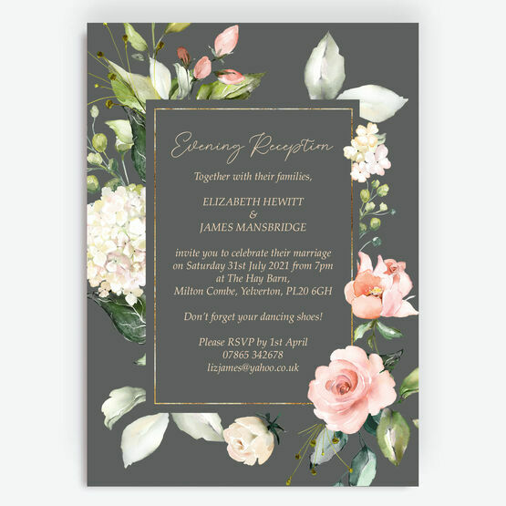 Grey, Blush & Gold Geometric Floral Evening Reception Invitation