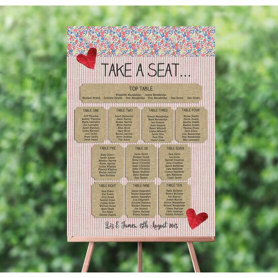 Country Textiles Wedding Seating Plan