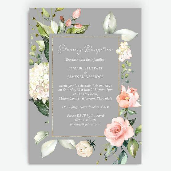 Dove Grey, Blush & Gold Geometric Floral Evening Reception Invitation