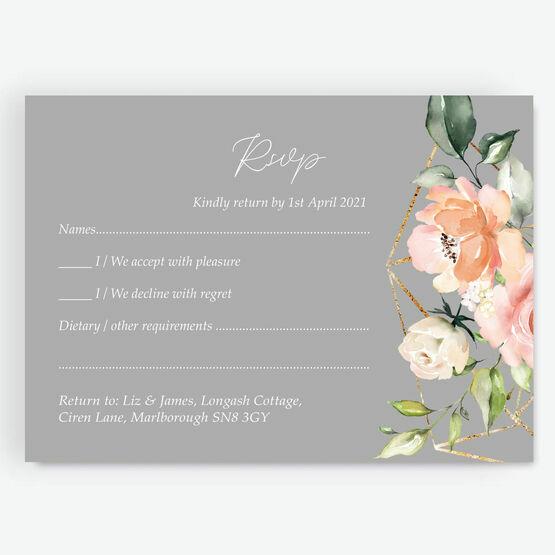 Dove Grey, Blush & Gold Geometric Floral RSVP