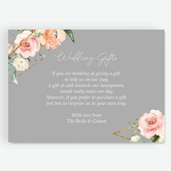 Dove Grey, Blush & Gold Geometric Floral Gift Wish Card