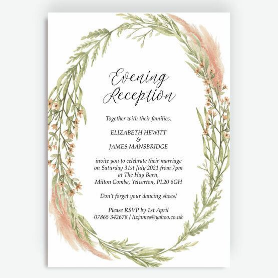 Pampas Grass Evening Reception Invitation
