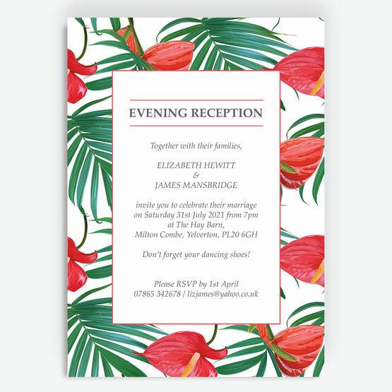 Tropical Red Anthurium Flowers Evening Reception Invitation