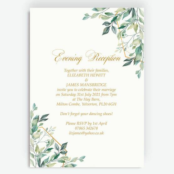 Gold & Greenery Geometric Evening Reception Invitation