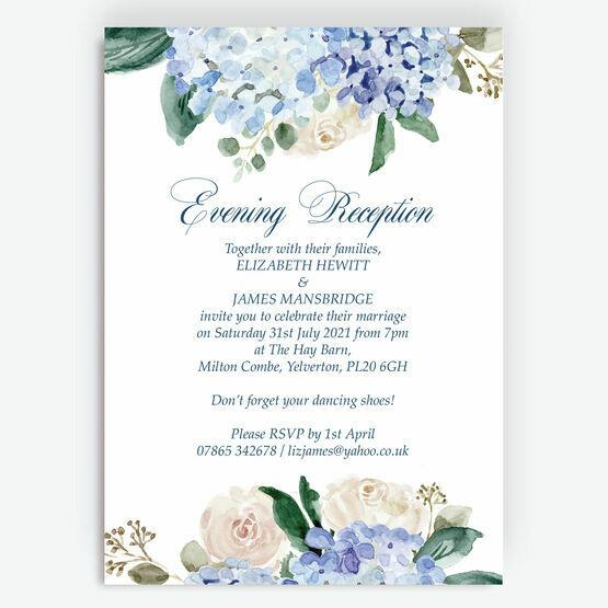 Blue Hydrangea Evening Reception Invitation