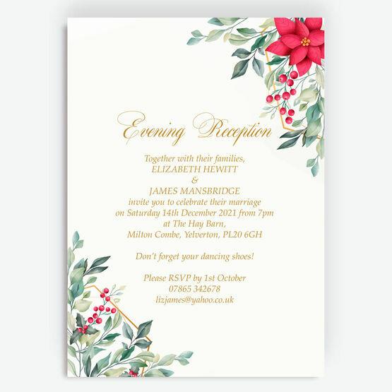 Poinsettia Flowers Winter Wedding Evening Reception Invitation