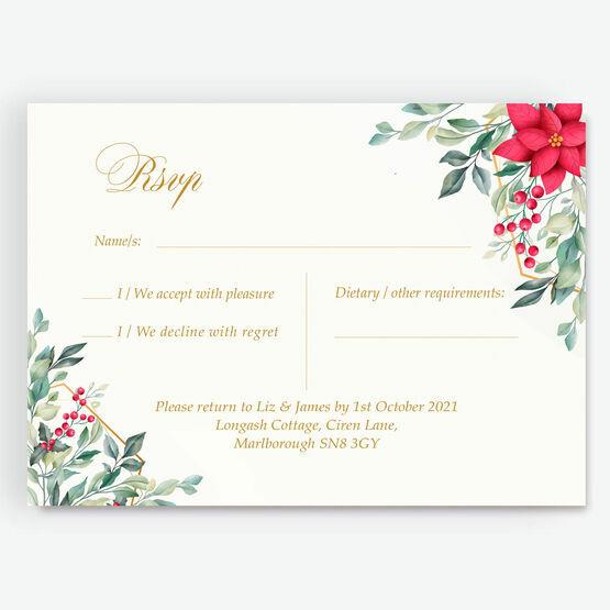 Poinsettia Flowers Winter Wedding RSVP