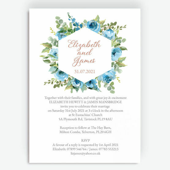 Blue & Copper Floral Wedding Invitation