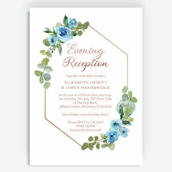 Blue & Copper Floral Evening Reception Invitation