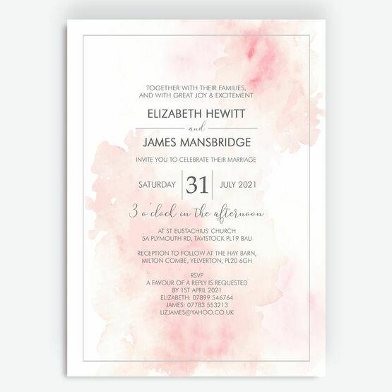 Blush Pink Watercolour Wedding Invitation