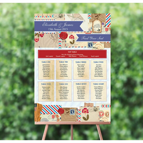 Vintage Airmail Wedding Seating Plan