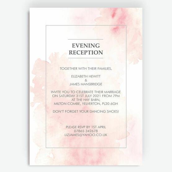 Blush Pink Watercolour Evening Reception Invitation
