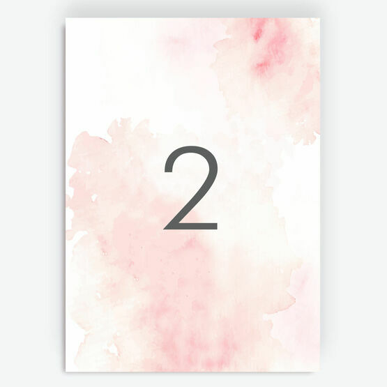 Blush Pink Watercolour Table Number