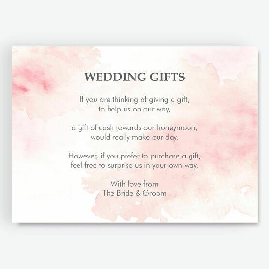 Blush Pink Watercolour Gift Wish Card