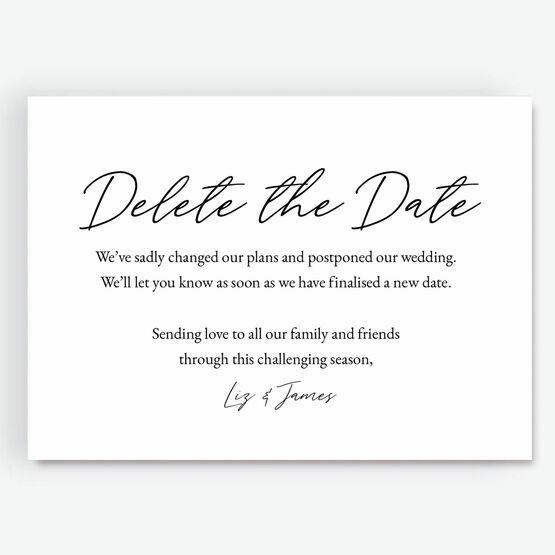 \'Delete The Date\' Wedding Postponement Card