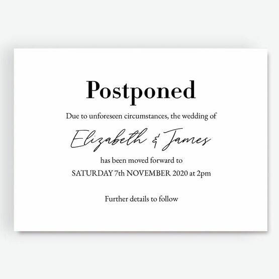 'Postponed' Wedding Postponement Card