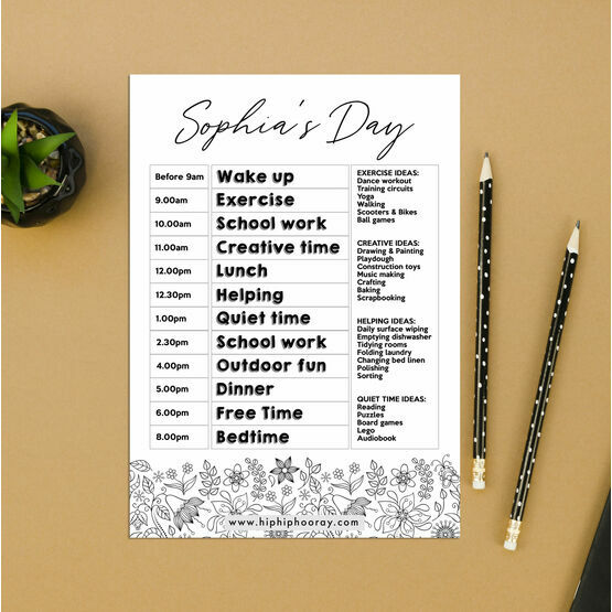 Floral Pattern Daily Kids' Planner