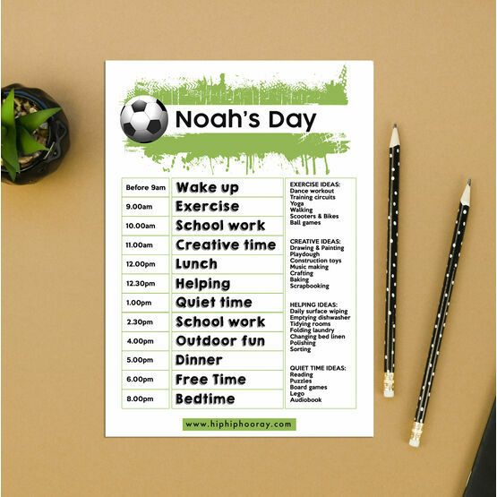 Football Themed Daily Kids' Planner