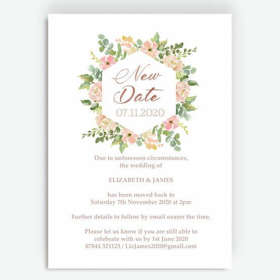 Blush Pink Flowers 'New Date' Wedding Postponement Card