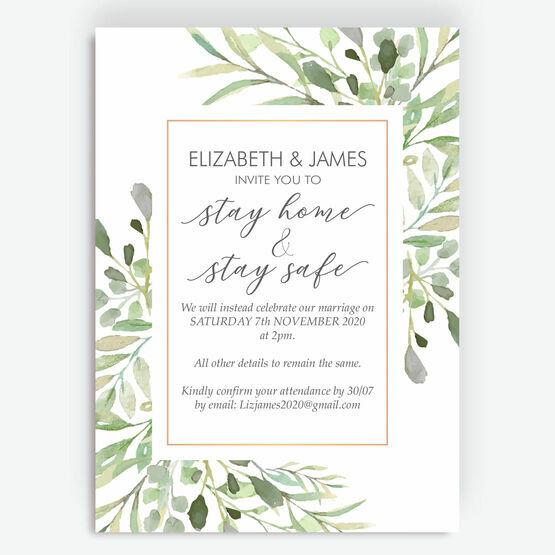 Greenery Frame 'Stay Home, Stay Safe' Wedding Postponement Card