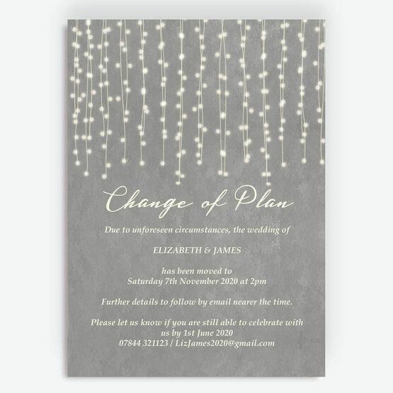 Grey Fairy Lights 'Change of Plan' Wedding Postponement Card