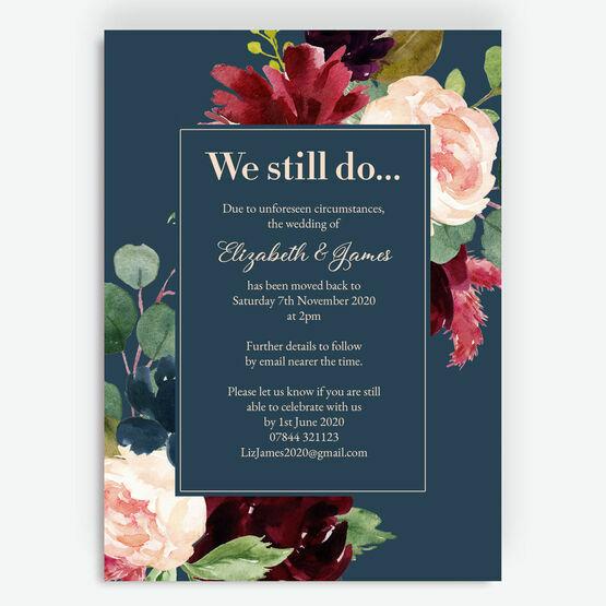 Navy, Burgundy & Blush Floral \'We Still Do\' Wedding Postponement Card