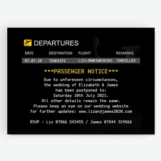 Destination Wedding Departures Board Postponement Announcement Card