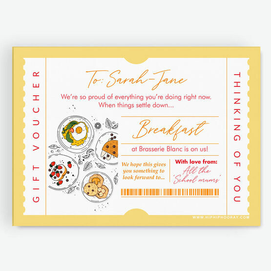 Breakfast / Brunch Personalised Postponement Gift Token