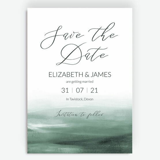 Forest Green Watercolour Save the Date