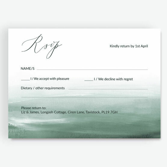 Forest Green Watercolour RSVP