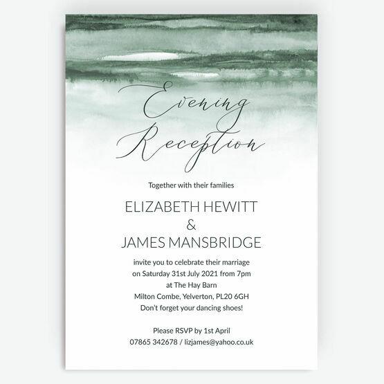 Forest Green Watercolour Evening Reception Invitation