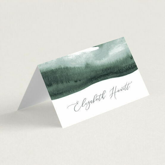 Forest Green Watercolour Place Card