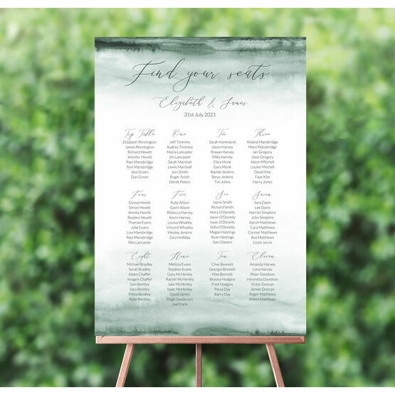 Forest Green Watercolour Wedding Seating Plan