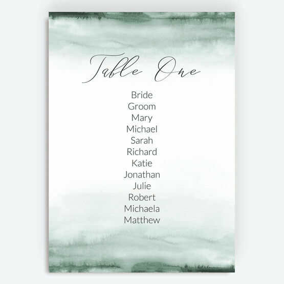 Forest Green Watercolour Table Plan Card