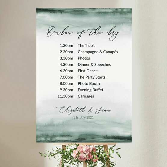 Forest Green Watercolour Wedding Order of the Day Sign