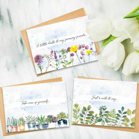 Pack of 12 Mixed Design Floral Note Cards